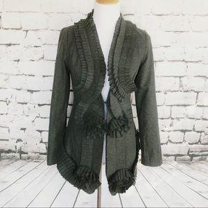 RYU Anthropologie Gray Frayed Long Duster Jacket